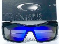 NEW Oakley BATWOLF Black polished ink POLARIZED Galaxy Blue 2 lens Sunglass 9101