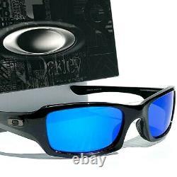 NEW Oakley FIVES Squared BLACK w POLARIZED Galaxy Blue Lens Sunglass 9238
