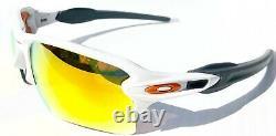 NEW Oakley FLAK JACKET 2.0 WHITE w FIRE Iridium Lens Sunglass 9188-19