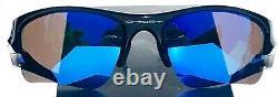 NEW Oakley FLAK JACKET Black POLARIZED Galaxy Blue Sapphire XLJ Sunglass 9009