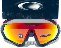 NEW Oakley FLIGHT JACKET Black Red POLARIZED Prizm Ruby Sunglasses 9401-08