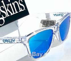 NEW Oakley Frogskins Clear Crystal polished w PRIZM Sapphire Sunglass oo9013