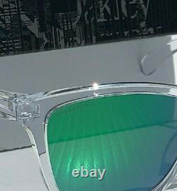 NEW Oakley Frogskins Clear Crystal w PRIZM JADE Green Iridium Sunglass 9013-D6