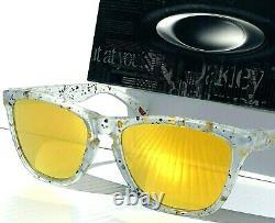 NEW Oakley Frogskins Clear Splatter POLARIZED Galaxy Gold Fire Sunglass 9013