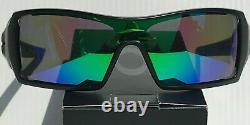NEW Oakley OIL RIG Matte Black w POLARIZED Galaxy JADE Green lens Sunglass 9081
