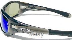 NEW Oakley PIT BULL Grey Smoke w POLARIZED Galaxy BLUE lens Sunglass