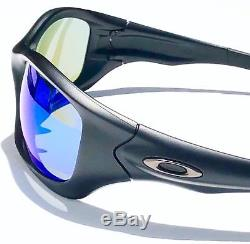 NEW Oakley PIT BULL in Matte Black w POLARIZED Galaxy Blue lens Sunglass 9161