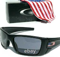 NEW Oakley SI FUEL CELL Matte BLACK USA FLAG Grey Tactical Sunglass 9096-38