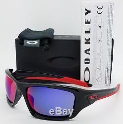 NEW Oakley Valve sunglasses Black + Red Iridium 9236-02 Ruby AUTHENTIC Mens wrap