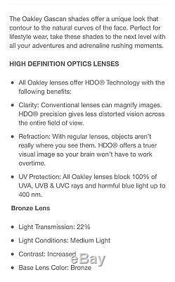 New Oakley Mens Gascan Sunglasses Military Desert Frame Bronze Lens US Flag Icon