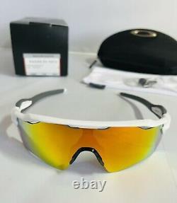 New Oakley Radar EV Path Sunglasses Team Colors Fire Iridium Lens Polished White