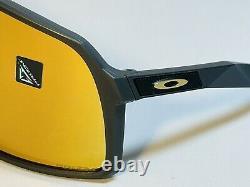 New Oakley Sutro Sunglasses Matte Carbon Frame 24k Gold Prizm Lens Shield