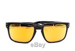 OAKLEY OO9102-E355 HOLBROOK Sunglasses Polished Black Gold Mirror Flash NEW