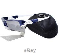 Oakley 03-931 FLAK JACKET XLJ Team Navy Blue Black Iridium Mens Sport Sunglasses