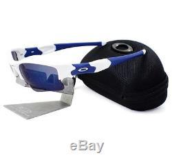 Oakley 03-941 FLAK JACKET XLJ Polished White Ice Iridium Mens Sports Sunglasses