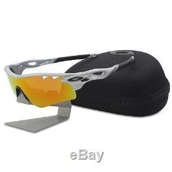 Oakley Custom POLARIZED RADARLOCK PATH Silver with Fire Vented Mens Sunglasses