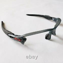 Oakley Flak 2.0 XL Matte Gray Smoke Red Icons Black Socks Frame Only Authentic