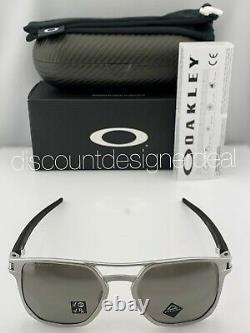 Oakley LATCH ALPHA Sunglasses OO4128-01 Matte Silver Prizm Gray Polarized Lens