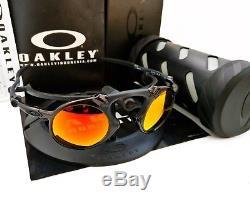 Oakley Mad Man X Metal Sunglasses OO6019-04 Dark Carbon/ Ruby Iridium Polarized