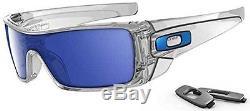 Oakley Men's Batwolf Rectangular Sunglasses, Clear Frame/Ice Iridium Lens
