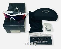 Oakley Men's Radar Path Sunglasses Polished White/Red Iridium Lens