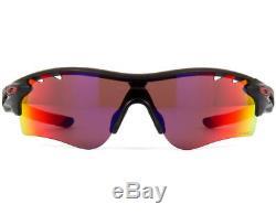 Oakley OO9181-23 Radarlock Path Sunglasses Matte Black Ink Polarized Red Iridium