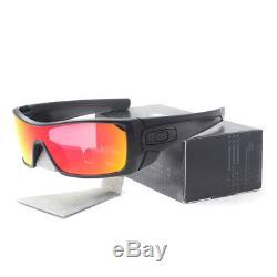 Oakley OO 9101-38 BATWOLF Matte Black Ink Ruby Iridium Mens Sunglasses