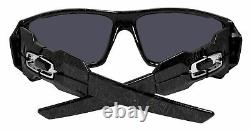 Oakley Oil Rig 24-058 Black Silver Ghost Text Iridium Lens 0OO9081 Sunglasses