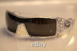 Oakley Oil Rig Sunglasses Polished Clear Frame With Black Iridium Lens RARE NEW