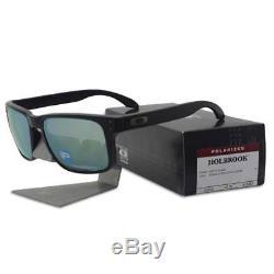 Oakley Sunglasses OO9102-50 Polraized Holbrook Matte Black Emerald Iridium Mens